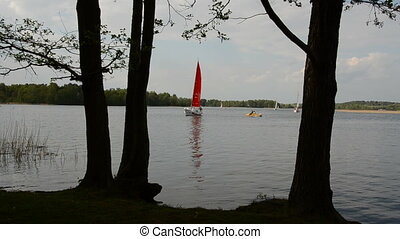 yacht sailing on the lake