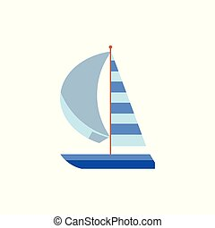 Yacht, sailing ship, boat with a striped sail