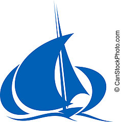 Yacht sailing the ocean waves - Stylized silhouette of blue...