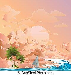 Yacht sailing to island at dawn