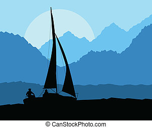 Yacht sailing vector background concept in front of mountains for poster