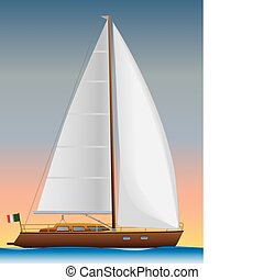 Yacht - Sailing yacht vector color illustration.