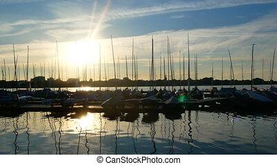 Yacht sea summer port sunset - Luxury yacht at sea race....
