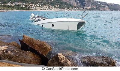 Yacht Semi-Sunk - Close Up View Of Luxury Yacht Half Sunken...
