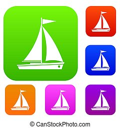 Yacht set collection - Yacht set icon in different colors...