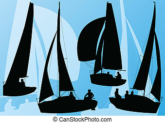 Yacht sports sailing boat detailed collection vector background