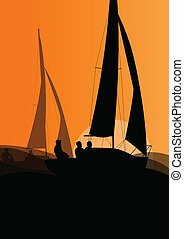Yacht sports sailing with active men in sea and ocean...