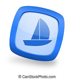 yacht square glossy blue web design icon