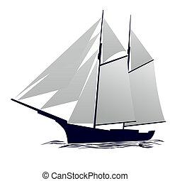 Yacht - Old sailing ship. Illustration on white background.