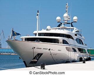 Yacht - modern yacht anchored in port