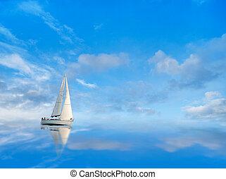 yacht, su, cielo blu