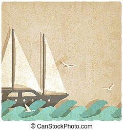 yacht, su, onde, vecchio, fondo
