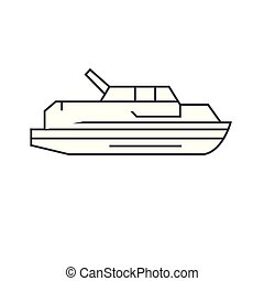 Yacht thin line icon concept. Yacht linear vector sign, symbol, illustration.