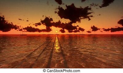 yacht, tl, nuages, levers de soleil
