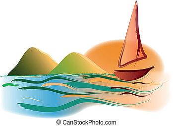 yacht, tramonto, montagne