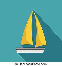 Yacht travel icon, flat style