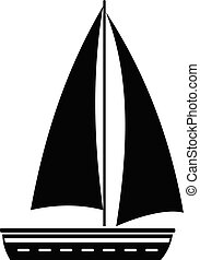Yacht travel icon, simple black style