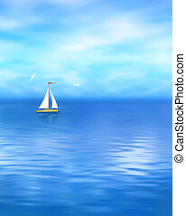 Yacht Vector Blue Sea Landscape - Sea vector landscape with...