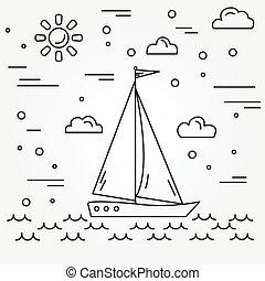 yacht., vector.