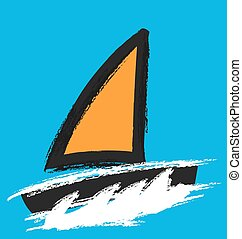 yacht vector icon, abstract