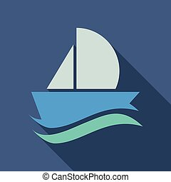 yacht vector icon in flat style with shadow