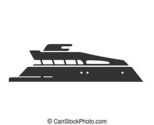 yacht., vector., ship., silhouette, vaisseau, illustration, nautique, mer, plat