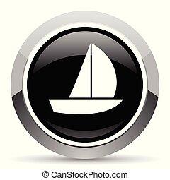 Yacht vector steel icon. Chrome border round web button....