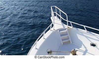Yacht - View of the nose white motor yacht