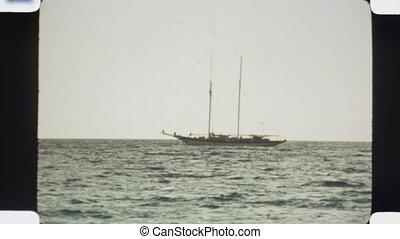 Yacht. (Vintage 1970s film) - Yacht off the coast of Bimini....