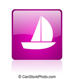 yacht violet square web glossy icon