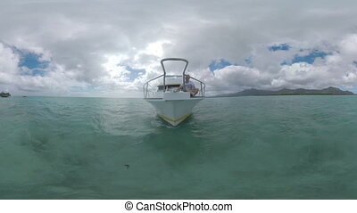 Yacht water trip in the ocean near Mauritius Island