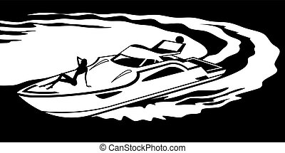 Yacht with fashion model on deck - vector illustration