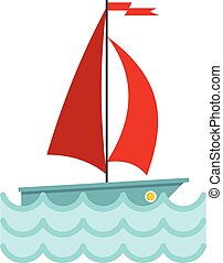 Yacht with red sails icon, flat style