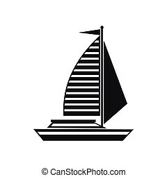 Yacht with sails icon, simple style