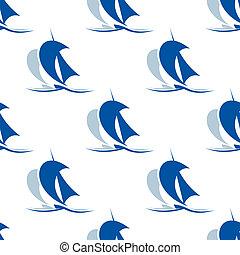 Yacht with sails seamless pattern - Blue nautical yacht...