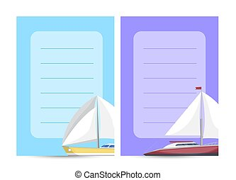 Yachting and cruising card with sailboats