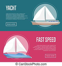 Yachting and cruising yachts flyers with sailboats
