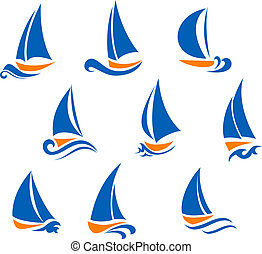 Yachting and regatta symbols for yacht sports design