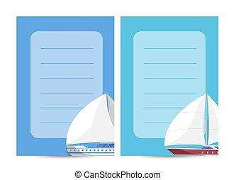 Yachting and sailing card with sailboats
