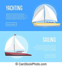 Yachting and sailing flyers with sailboats