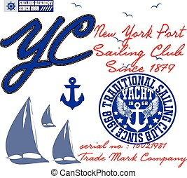 Yachting club; Grunge vector artwork for sportswear in custom colors