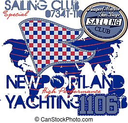 Yachting club , Grunge vector artwork for sportswear in custom colors