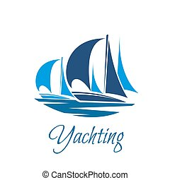 yachting, clube, sailboat, iate, vetorial, ou, ícone