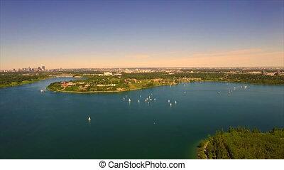 Yachting Glenmore reservoir - Aerial boating beautiful lake...