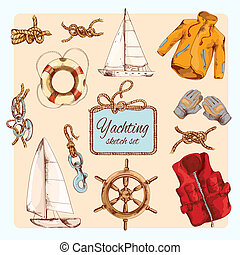 Yachting sketch set