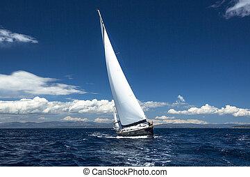 yachting, yachts., zeilend, regatta., luxe