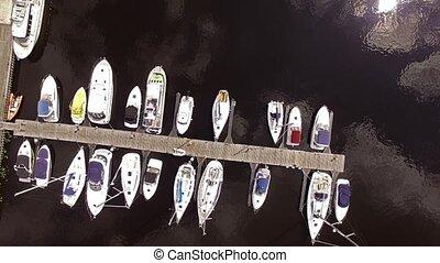 yachts., -, aérien, hd, vue