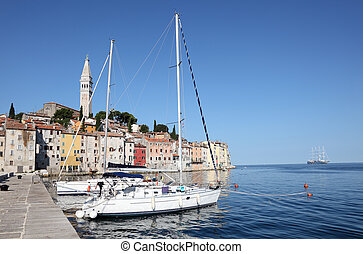 Yachts anchoring at the old town of Rovinj, Croatia