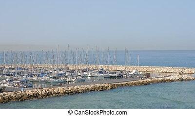 Yachts and boat dock in Tel Aviv Marina shot clip