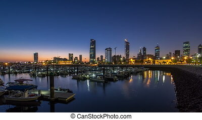 Yachts and boats at the Sharq Marina night to day timelapse...